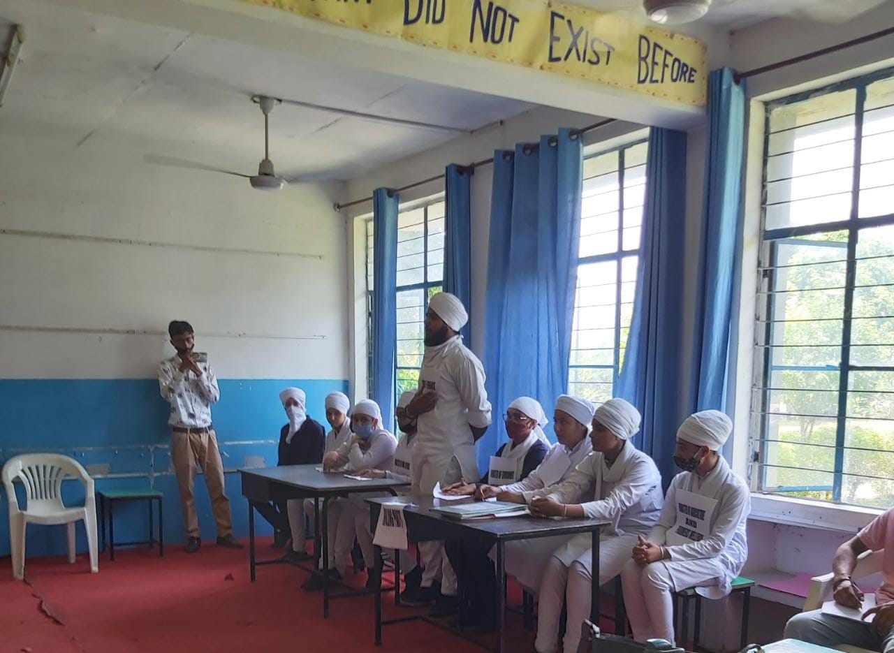Mock Parliament activity in Akal Academy Kakra Kalan