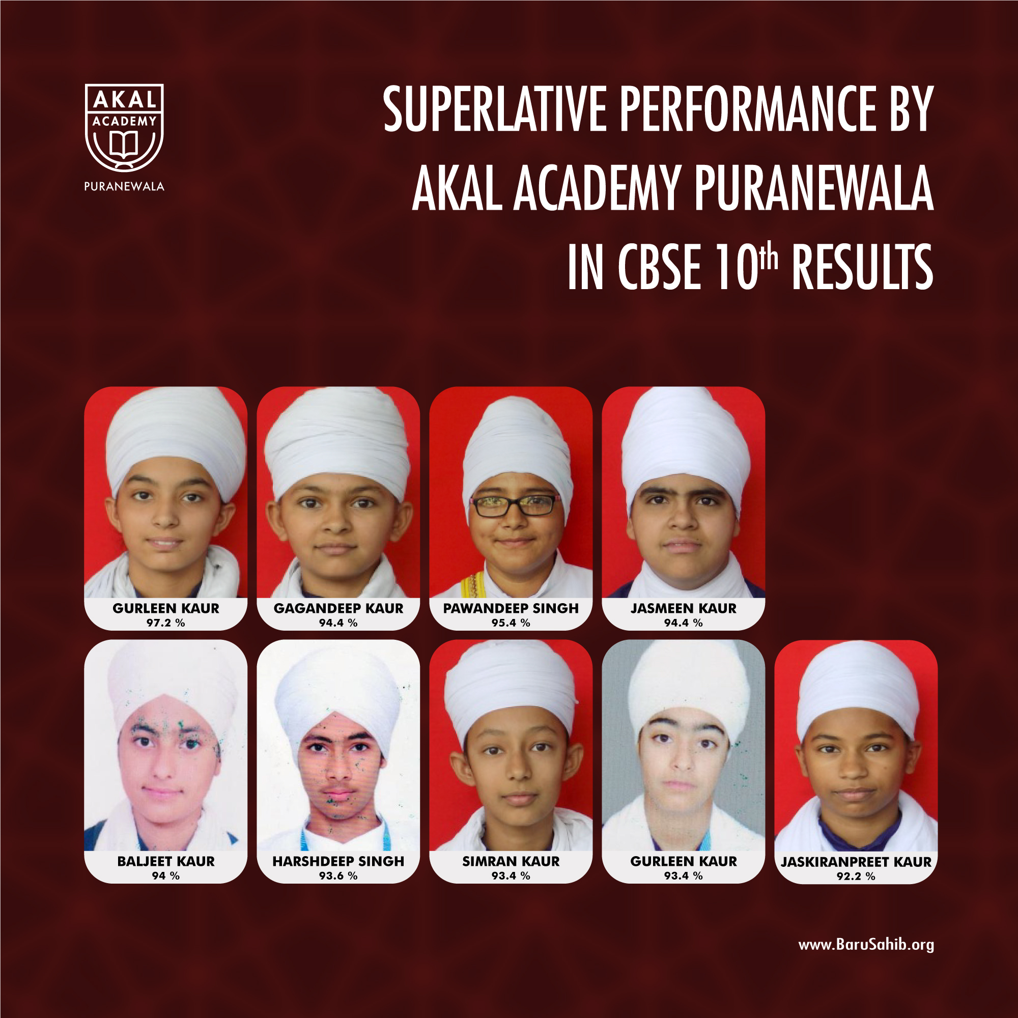 Superlative Performance by Akal Academy Puranewala in CBSE 10th Results