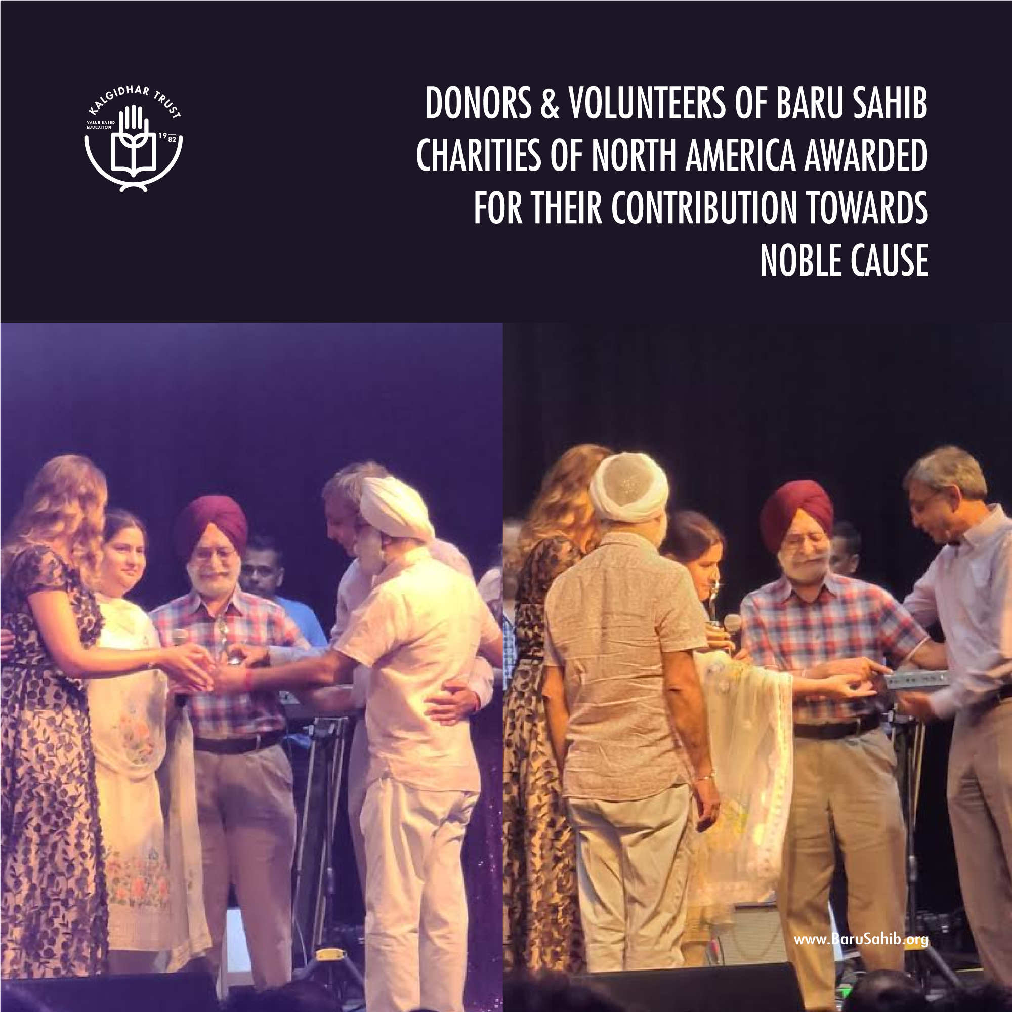 Donors & Volunteers of Baru Sahib Charities of North America awarded for their contribution towards noble cause