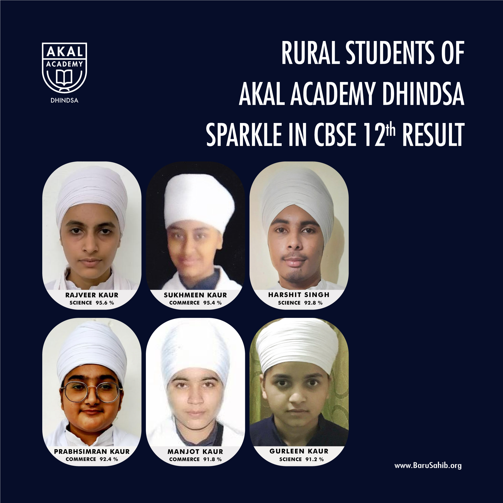 Rural Students of Akal Academy Dhindsa dazzle in CBSE 12th Result