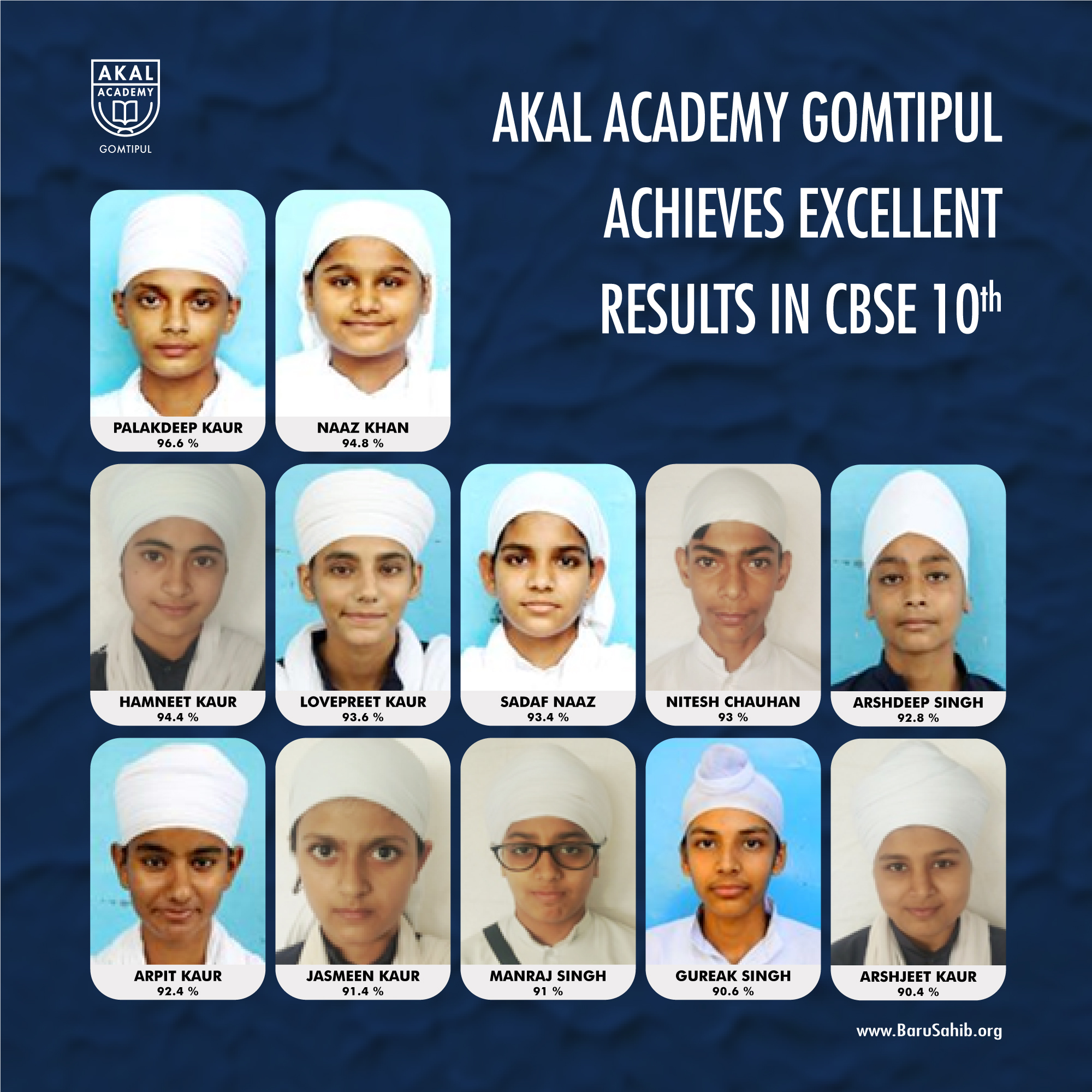 Akal Academy Gomtipul Achieves Excellent Results in CBSE 10th