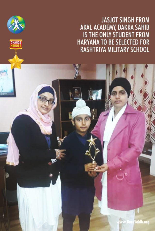 Jasjot Singh from #AkalAcademy, Dakra Sahib is the only student from #Haryana to be selected for Rashtriya Military School