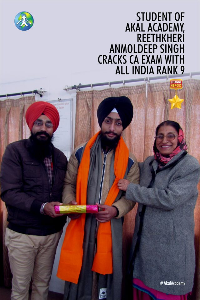Student of Akal Academy, Reethkheri Anmoldeep Singh cracks CA Exam with All India Rank 9